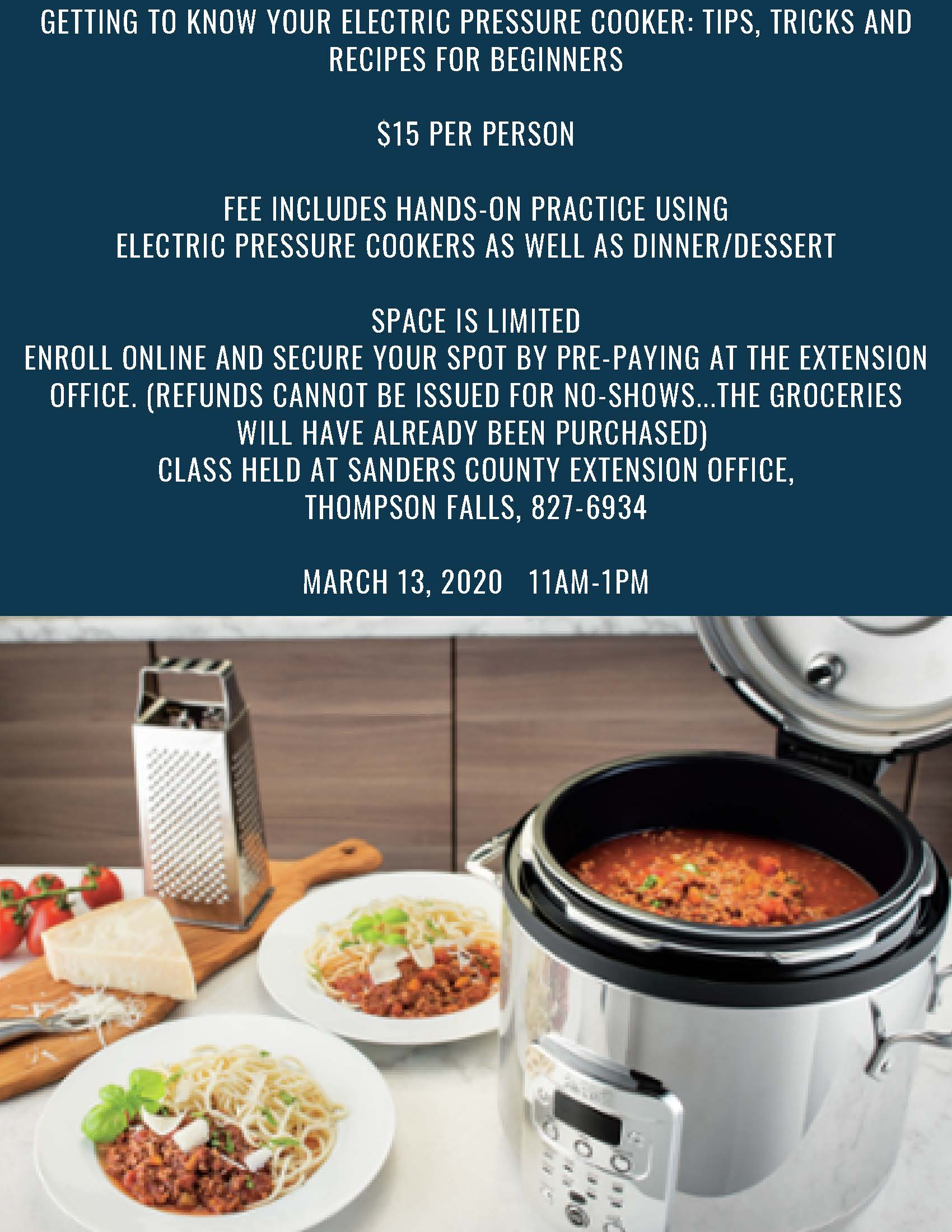 Pressure cooker class march 13